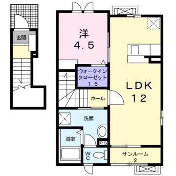 物件番号: 1110300058 アン ディマンシェD  富山市萩原 1LDK アパート 間取り図