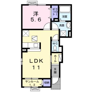 物件番号: 1110300110 サニーテラス  富山市上大久保字 1LDK アパート 間取り図