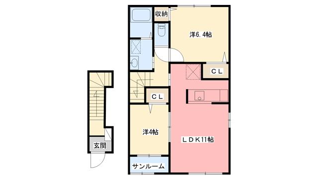物件番号: 1110300119 サニーテラス  富山市上大久保字 2LDK アパート 間取り図