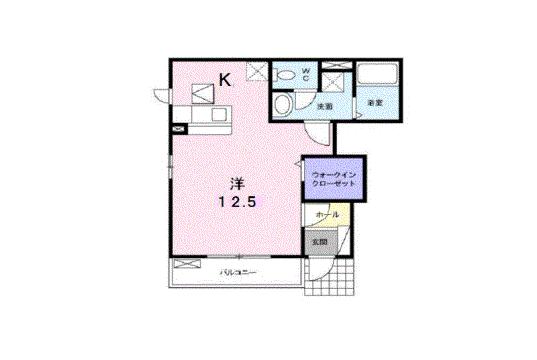物件番号: 1110300149 グレイシャス  富山市西新庄 1K アパート 間取り図