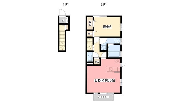物件番号: 1110300161 D-room萩原  富山市萩原 1LDK アパート 間取り図