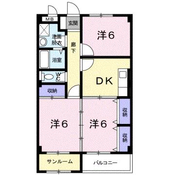物件番号: 1110300211 エスタシオン  富山市堀 3DK マンション 間取り図