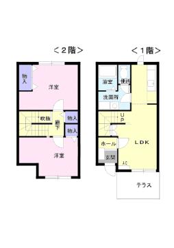 物件番号: 1110300227 グランディールⅡ  富山市山室荒屋 2LDK アパート 間取り図