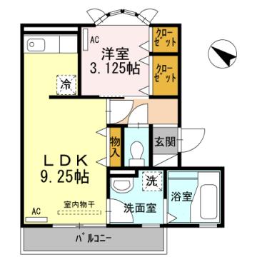 物件番号: 1110300272 アイリス・ハイツ  富山市山室 1LDK アパート 間取り図