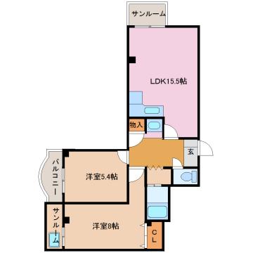 物件番号: 1110300384 レラカムイ  富山市布瀬町南2丁目 2LDK マンション 間取り図