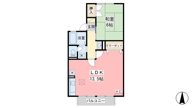 物件番号: 1110300591 セジュール経堂 A棟  富山市経堂 1LDK アパート 間取り図