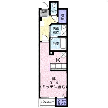 物件番号: 1110300666 ウエストモンターニュA  富山市太郎丸西町 1R アパート 間取り図