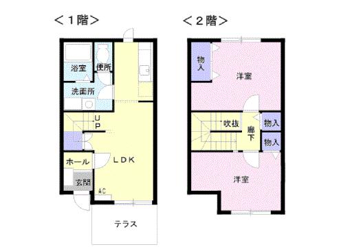 物件番号: 1110300684 グランディールⅢ  富山市山室荒屋 2LDK アパート 間取り図