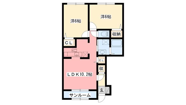物件番号: 1110300733 ドゥ・ファミーユC  富山市常盤台 2LDK アパート 間取り図