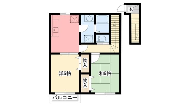 物件番号: 1110300736 アル・カーサル  富山市藤木 2DK アパート 間取り図