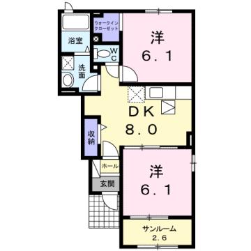 物件番号: 1110301109 ウィンクルムⅢ  富山市本郷町 2DK アパート 間取り図