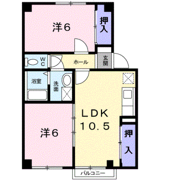 物件番号: 1110301241 ビューレンゲB  富山市上飯野 2LDK アパート 間取り図