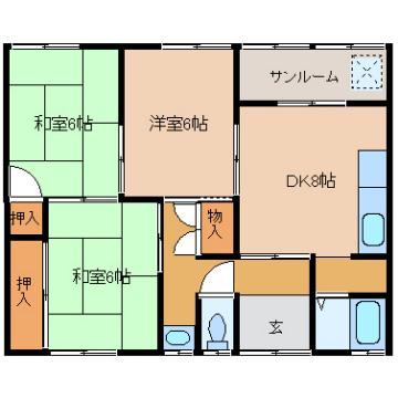 物件番号: 1110301297  富山市中川原 3DK アパート 間取り図