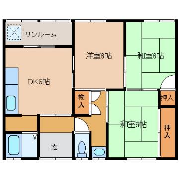 物件番号: 1110301300  富山市中川原 3DK アパート 間取り図