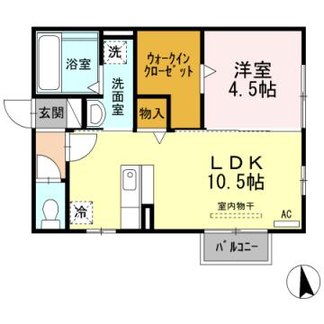 物件番号: 1110301366 プラムハウス  富山市才覚寺 1LDK アパート 間取り図