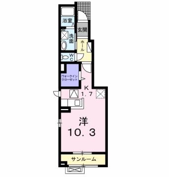 物件番号: 1110301405 アッシュ8 A  富山市常盤台 1K アパート 間取り図