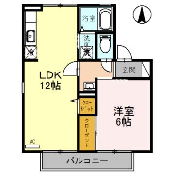 物件番号: 1110301419 サン・フルール婦中  富山市婦中町砂子田 1LDK アパート 間取り図