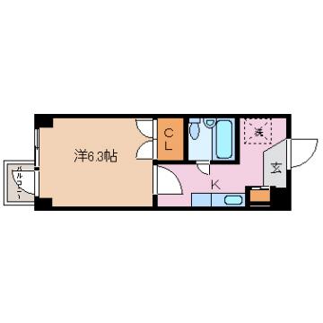 物件番号: 1110301449 グランフォート五番町  富山市五番町 1K マンション 間取り図