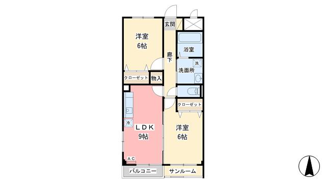 物件番号: 1110301521 ウィルモア布瀬  富山市布瀬町南1丁目 2DK アパート 間取り図