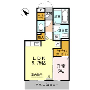 物件番号: 1110301550 D-room五福  富山市五福 1LDK アパート 間取り図