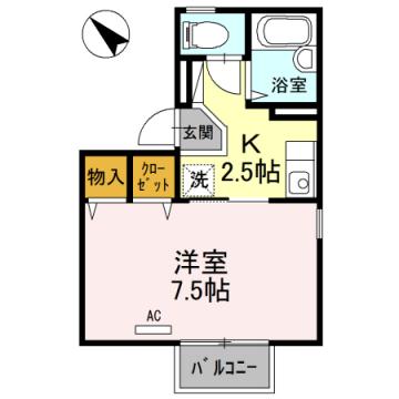 物件番号: 1110301595 セジュール山室  富山市山室 1K アパート 間取り図