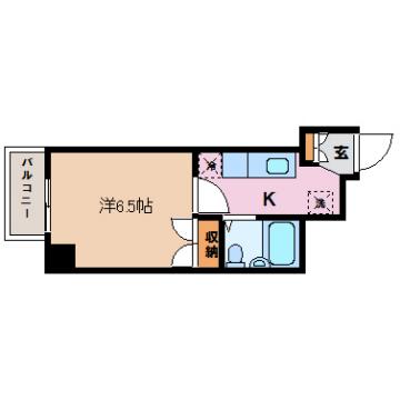 物件番号: 1110301723 グランフォート五番町  富山市五番町 1K マンション 間取り図