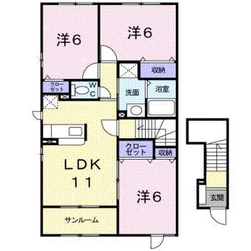物件番号: 1110301860 エム・フィールド88A  富山市金泉寺 3LDK アパート 間取り図