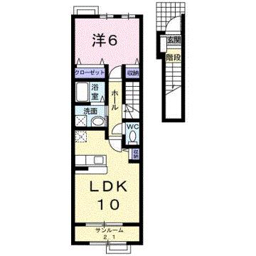 物件番号: 1110301867 クロンドールⅠ  富山市布瀬本町 1LDK アパート 間取り図