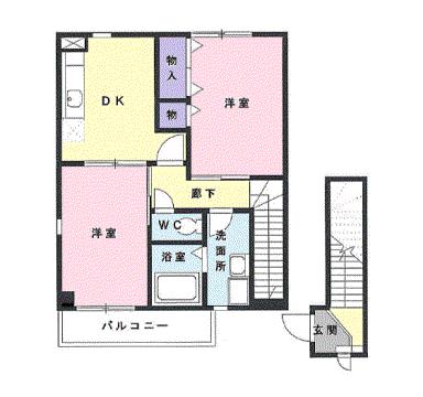 物件番号: 1110301869 サニーサイド松ヶ丘  富山市山室荒屋 2DK アパート 間取り図