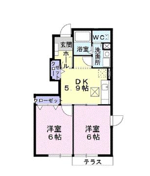 物件番号: 1110301877 ドゥ・アスティオスⅠ  富山市水橋舘町 2DK アパート 間取り図