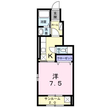 物件番号: 1110302037 アメージング藍  富山市本郷町水上割 1K アパート 間取り図
