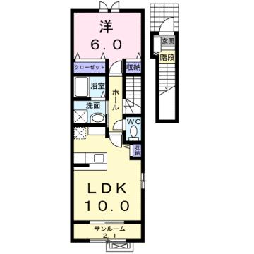 物件番号: 1110302045 アルナージュ  富山市常盤台 1LDK アパート 間取り図