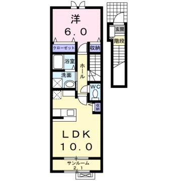 物件番号: 1110302047 アルナージュ  富山市常盤台 1LDK アパート 間取り図