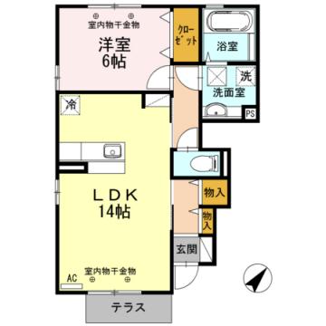 物件番号: 1110302060 D-room 本郷新B  富山市本郷新 1LDK アパート 間取り図
