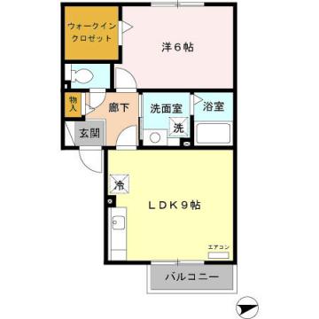 物件番号: 1110302084 アグリーブルA  富山市中間島1丁目 1LDK アパート 間取り図