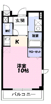物件番号: 1110302108 アロマ・フォーレⅢ  富山市黒崎 1K アパート 間取り図