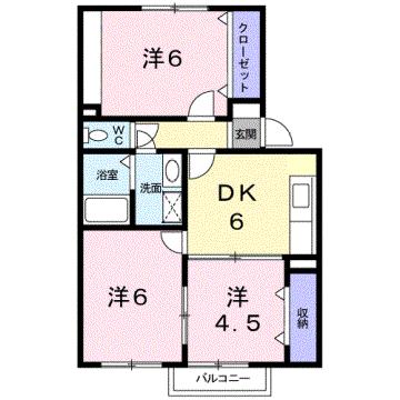 物件番号: 1110302139 ウイステリアB  富山市開 3DK アパート 間取り図