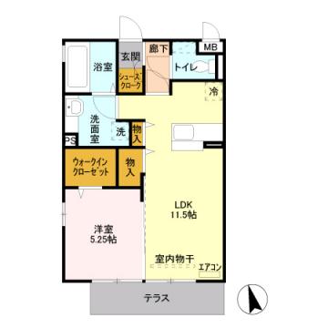 物件番号: 1110302151 リヴェール オッツ  富山市赤田 1LDK アパート 間取り図