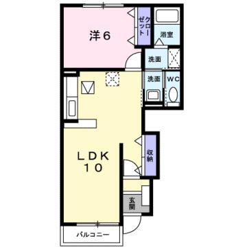 物件番号: 1110302168 エアリーム  富山市日俣 1LDK アパート 間取り図