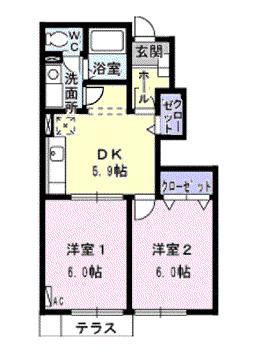 物件番号: 1110302206 ウィルモア  富山市婦中町上田島 2DK アパート 間取り図