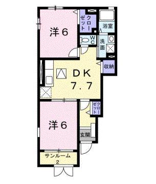 物件番号: 1110302239 エトワールC  富山市西荒屋 2DK アパート 間取り図