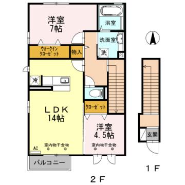 物件番号: 1110302283 ルミエールA  富山市向新庄町1丁目 2LDK アパート 間取り図