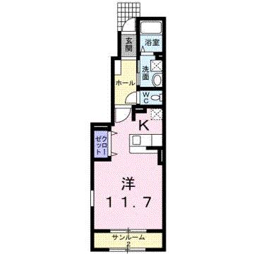 物件番号: 1110302302 ウエスト・モンテローザ  富山市太郎丸西町1丁目 1K アパート 間取り図