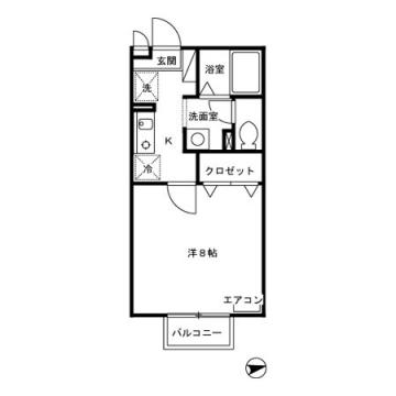 物件番号: 1110302354 ルミエールM  富山市曙町 1K アパート 間取り図
