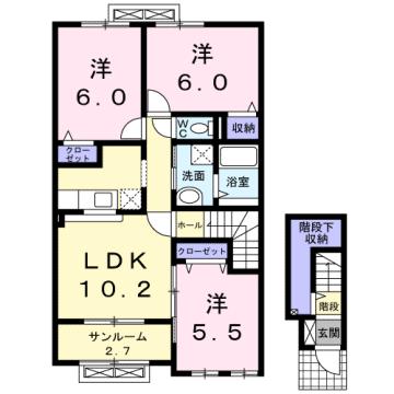 物件番号: 1110302400 サンシーロ  富山市常盤台 3LDK アパート 間取り図