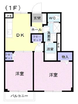 物件番号: 1110302423  富山市中川原 2DK アパート 間取り図
