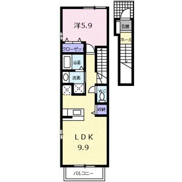 物件番号: 1110302457 ゼファーⅣ  富山市上大久保 1LDK アパート 間取り図