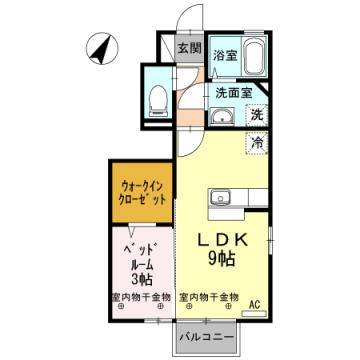 物件番号: 1110302615 D-room新庄  富山市新庄町3丁目 1LDK アパート 間取り図