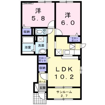 物件番号: 1110302800 ドゥ・ファミーユC  富山市常盤台 2LDK アパート 間取り図