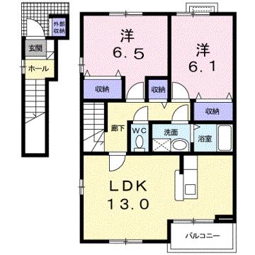 物件番号: 1110302844 カーサ・エクセレント  富山市水橋中村 2LDK アパート 間取り図